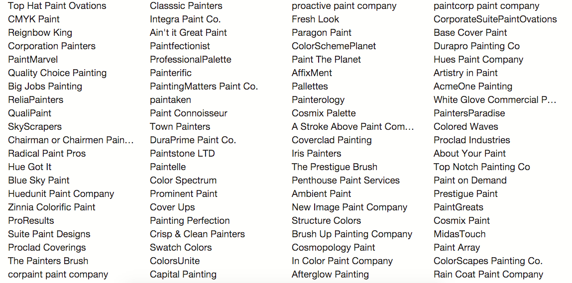 Paint Name painting company names: how i found the perfect name for my